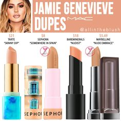 Lipstick dupes 425379127304574650 - MAC Jamie Genevieve Lipstick Dupes – All In The Blush Source by AftonFonzo Nyx Lipstick Swatches, Mac Cosmetics Lipstick, Drugstore Makeup Dupes, Beauty Dupes, Lipstick Mac, Beauty Tricks, Elf Dupes, Eyeshadow Dupes, Skincare Dupes