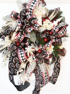 Christmas Black and White Mesh Wreath by WilliamsFloral on Etsy