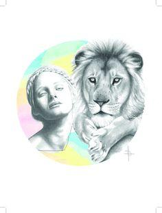 Fashion Illustration Print 12x16 -'Lion Braid' by Sharntay on Etsy