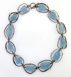 Sydney Lynch - Collar of rough aquamarine beads, faceted aquas and oxidized silver.