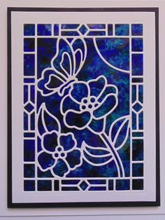 handmade greeting card from Inky Finger Zone: Simple Stained Glass Window Idea . polished stone technique (or coloring on glossy paper) in deep blues . white stained glass lines from full panel die of framed flowers and butterfly . Stained Glass Paint, Stained Glass Birds, Stained Glass Panels, Butterfly Cards, Flower Cards, Paper Flowers, Glass Butterfly, L'art Du Vitrail, Glass Art Pictures