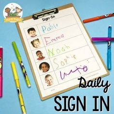 Daily Sign In Sheets for Your Preschool Classroom - Pre-K Pages Creative Curriculum Preschool, Preschool Names, Preschool Literacy, Back To School Activities, Kindergarten Classroom, Classroom Activities, Preschool Sign In Ideas, Preschool Attendance Ideas, Classroom Attendance