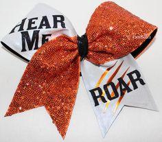 HEAR me Roar Custom Cheer Hairbow sequin ALLSTAR - available in your colors on Etsy, $18.00