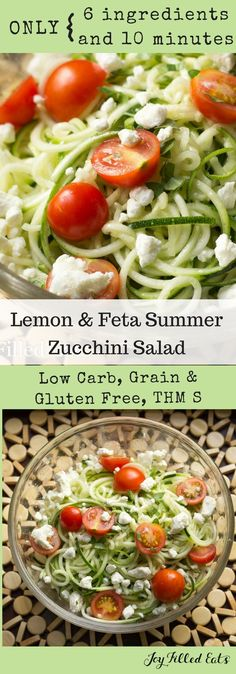 Lemon Feta Summer Zucchini Salad - Low Carb, Grain Free, THM S, Gluten Free via Joy Filled Eats - Gluten Sugar Free Recipes Salad Recipes Low Carb, Thm Recipes, Gluten Free Recipes, Healthy Recipes, Vegetarian Recipes, Dessert Recipes, Feta, Sin Gluten, Joy Filled Eats