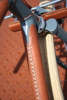Hand-stitched leather tube covers