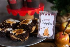 S&Apos;Mores brownies, food tent cards, camping party food tent cards, buff Camping Birthday Invitations, Custom Birthday Invitations, Camping Party Foods, Lumberjack Birthday Party, Winter Birthday Parties, Food Tent, Party Desserts, Dessert Table, Buffalo Plaid