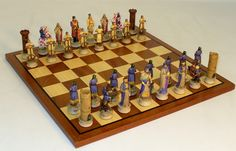 Richard The Lionhearted Themed Chess Set With Sapele Board is a display of history, but will be played and enjoyed by all!  Richard The Lionheart, named so due to his great military reputation.