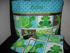 Teal blue and brown Frog Turtle Diaper Bag or by sabrinascrafts, $25.00