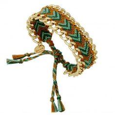 Bracelet Brésilien (vert turquoise et doré)