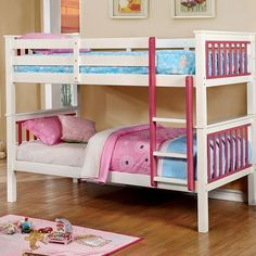 Checkout the Liam Two-Tone Wood Twin over Twin Bunk Bed featuring two finishes white & pink and blue and white. Free delivery on all bunk beds.
