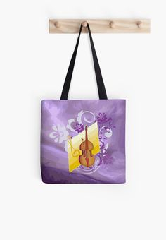 #ViolinFloralSwirl #PurpleAbstract #ToteBag by #MoonDreamsMusic