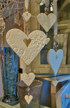 handmade heart decorations (salt dough, then strun. - handmade heart decorations (salt dough, then strun. Salt Dough Projects, Salt Dough Crafts, Clay Projects, Valentine Crafts, Christmas Crafts, Felt Christmas, Homemade Christmas, Christmas Ornaments, Valentines