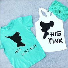 TINK & PETER PAN Silhouette Duo Shirt and Tank - baby, toddler, child, adult, couple, disney disneyland disney world Tinkerbelle Peter Pan by JamesonMonroe on Etsy https://www.etsy.com/listing/240315227/tink-peter-pan-silhouette-duo-shirt-and: