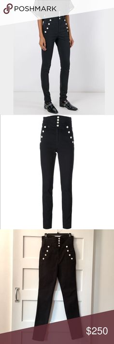 """NET Isabel Marant Marvin high waisted jeans Brand new never worn with tags, Isabel Marant """"Marvin"""" jeans. Ultra high waist black stretch denim with white button detail. Skinny leg.  Had to have these-But sadly not getting the love they deserve! Size EU 38, US 6, true to size. Isabel Marant Jeans Skinny"""