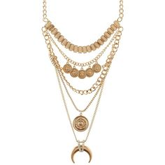 Charlotte Russe Gold Horn & Coin Layered Statement Necklace by... ($8.99) ❤ liked on Polyvore featuring jewelry, necklaces, gold, pendants & necklaces, gold coin pendant, bead necklace, layered necklace and gold layered necklace