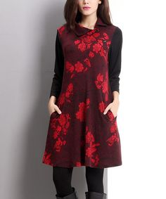 Love this Burgundy Floral Side Button Dress on #zulily! #zulilyfinds