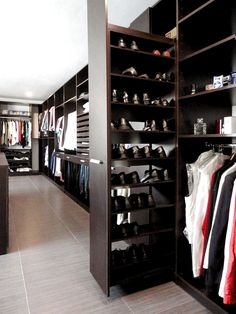 Set up dressing room - tips, tricks and inspiration - dressing-room-furnishings-brown-walk-in-closet-shoes-dresses - Wardrobe Design Bedroom, Master Bedroom Closet, Bedroom Wardrobe, Master Suite, Bathroom Closet, Walk In Closet Design, Closet Designs, Small Walk In Closet Ideas, Closet Small