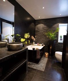 dark bathroom Bathroom of today Dark, pretty and incredibel hot. - Credit: nyquist_home - - For mere inspirasjon til baderom se vvseksperten Bathroom Shelf Decor, Rustic Bathroom Shelves, Bathroom Ideas, Contemporary Bathroom Designs, Modern Bathroom, Small Double Sink Vanity, Space Saving Bathroom, Mini Bad, Mini Loft