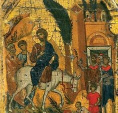 The Entry of the Lord into Jerusalem. Icon in Vatopedi Monastery, Mt. Religious Images, Religious Icons, Religious Art, Byzantine Icons, Byzantine Art, Medieval Books, Christian Artwork, Religious Paintings, Palm Sunday