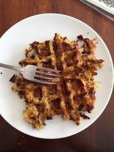 Leftover rice (from Thursday's chicken teriyaki) + egg, waffled