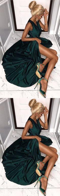 A-Line V-Neck Floor-Length Dark Green Prom Dress with Split,Evening Gowns#promdress#graduationdress#2018eveningdress#dress#dresses#gowns#partydress#longpromdress#eveningdress