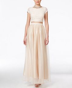 Speechless Juniors' Lace Two-Piece Gown