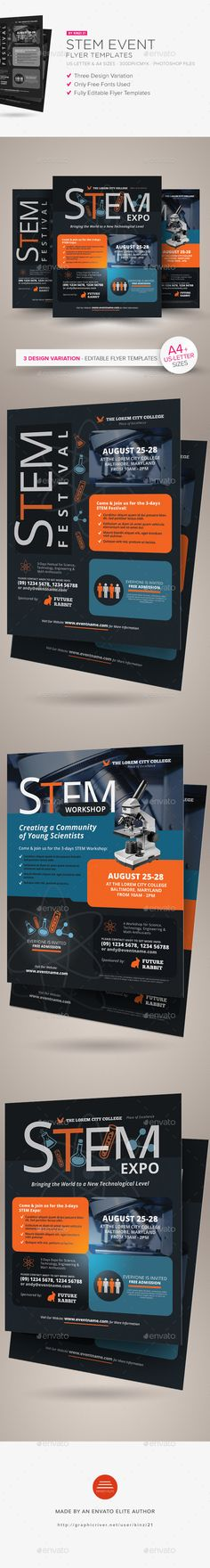 Buy STEM Event Flyer Templates by on GraphicRiver. STEM Event Flyer Templates A flyer template pack perfect for promoting a STEM-related event (workshop, conference, ex. Letterhead Template, Event Flyer Templates, Brochure Template, Graphic Design Templates, Print Templates, Brochure Design, Flyer Design, Design Design, Design Ideas