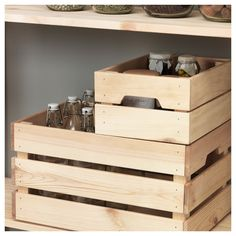 IKEA - KNAGGLIG, Box, pine, Perfect for storing cans and bottles since the wooden box is sturdy and durable. Easy to pull out and lift as the box has handles. Wooden Storage Boxes, Plastic Box Storage, Small Storage, Storage Containers, Storage Baskets, Wooden Boxes, Wooden Crates, Ikea Crates, Kitchen Storage