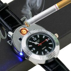 Sporty Wristwatch USB Rechargeable Windproof Flameless Cigarette table Lighter #Unbranded