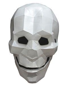 Maske Skelett Low Poly - Hand bemalt: Diese weißeLatexmaskein3Dist für Erwachsene. Sie ist Hand bemalt und damit ein Produkt höchster Qualität.Sie zeigt einen Schädelund ist mit...
