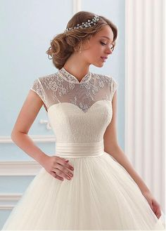 Buy discount Glamorous Tulle High Collar Neckline Ball Gown Wedding Dress at Dressilyme.com