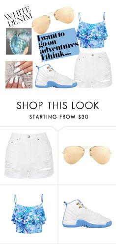 """""""~~~White Denimm~~~"""" by bowkam ❤ liked on Polyvore featuring Topshop, Ray-Ban and Forever New"""