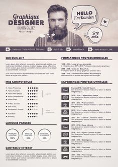 50 Simple & Creative Resume (CV) Design Ideas / Examples For 2017 & Beyond Cv Template, Resume Templates, Conception Cv, Cv Photoshop, Resume Skills List, Cv Curriculum, Creative Curriculum, Cv Original, Cv Inspiration