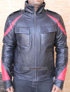 Men's James Heller Gaming Prototype 2 PSP biker Soft Goatskin Leather Jacket #Handmade #Motorcycle