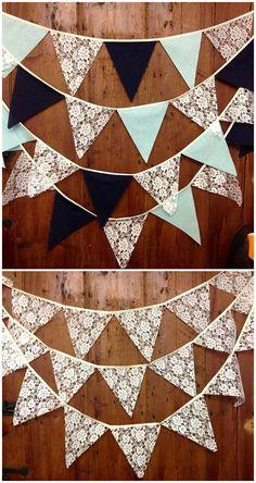 2015 Hochzeit planen DIY Traumhochzeit mit dekorierten Girlanden aus Spitze Leinen Papier Scheune Deko 2015 Hochzeit planen: DIY Traumhochzeit mit dekorierten Girlanden aus Spitze, Leinen, Papier