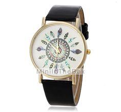 reloj patrón del pavo real de la PU del cuarzo de la venda de las mujeres (colores surtidos) 2015 – €79.32