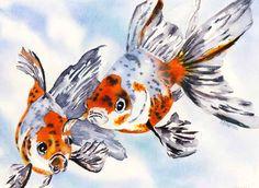 watercolor goldfish | Medium: Watercolor