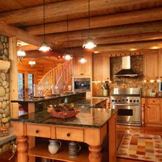 Log Cabin Home Kitchen. I absolutely love this. Wouldn't change much, except for the floor tile and rug.
