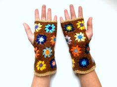 Mitaines crochet en laine - marron noisette et multicolore