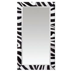 Beveled Mirror with Faux Zebra Frame with Nailheads