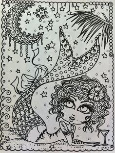 Coloring Book PINUPS Hot Mermaid Pinups Sexy by ChubbyMermaid