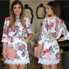 Print Lace O-neck Long Sleeve Short Dress