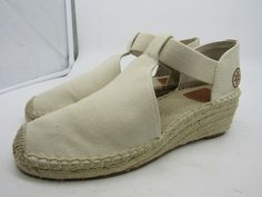37c603b7fd03 Extra Off Coupon So Cheap Tory Burch Catalina Women s Canvas Espadrille Wedge  Flats Size M