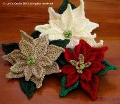 Evanescence : Christmas Crochets Poinsettias by marcie
