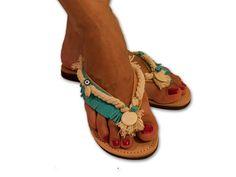 Decorated flip flops, navy flip flops, leather sandals, fringe sandals, turquoise flip flop, boho sandals, Greek sandals