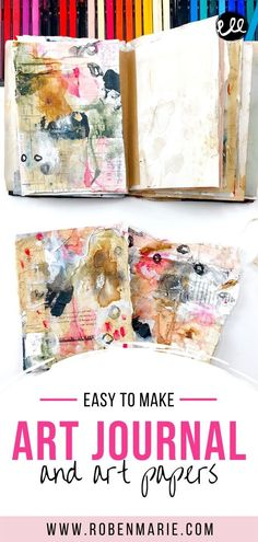 Looking for some artsy fun that will help you loosen up your art process? Sign up for my FREE Transitions Journal! It's the perfect diversion!  Spend a little time with me creating and learning about my process.  Get loose and messy and also learn my tips and tricks for making beautiful artsy papers. #robenmarie Kunstjournal Inspiration, Art Journal Inspiration, Journal Ideas, Artist Journal, Art Journal Pages, Art Journals, Handmade Journals, Handmade Books, Watercolor Journal