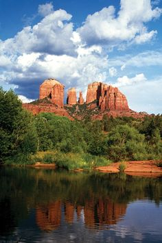 Sedona, Cathedral Rock. Took pics at this same spot. The sunset against the rock was so beautiful!