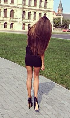 Long hair. Straight super long hair. Brown with highlights.