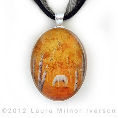 New one, White Horse in Golden Woods.  Handmade from my original painting.