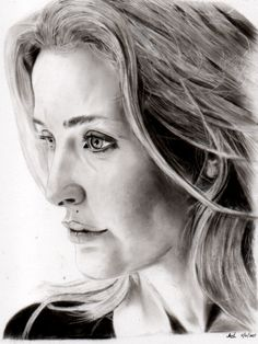 Gillian Anderson Portrait Drawing